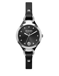 Versus By Versace Rosalyn Stainless Steel Black Leather Strap Bracelet Watch Som020015