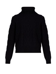 Nili Lotan Gigi Cable Knit Cashmere Sweater Navy