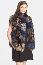 Women's Vince Multicolor Genuine Fox Fur Vest