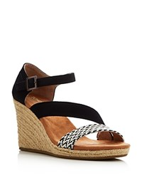 Toms Clarissa Buckled Wedge Espadrille Sandals Black White