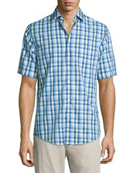 Neiman Marcus Classic Fit Non Iron Plaid Short Sleeve Sport Shirt Blue Yellow