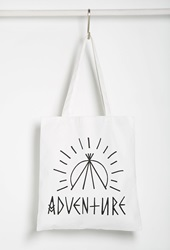 Forever 21 Adventure Graphic Shopper Tote Black White