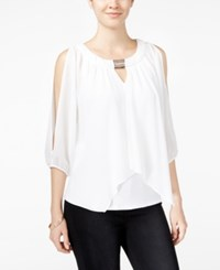 Amy Byer Bcx Juniors' Embellished Split Overlay Top White