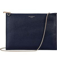 Aspinal Of London Soho Flat Saffiano Leather Clutch Bag Navy