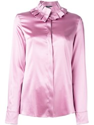 Capucci Pleated Collar Shirt Pink And Purple