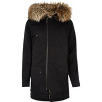 River Island Mens Black Faux Fur Trim Longline Jacket
