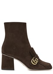 Gucci Chocolate Gg Fringed Suede Boots Brown