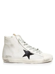 Golden Goose Francy High Top Cord And Leather Trainers White Black