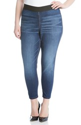 Karen Kane Plus Size Women's Vintage Wash Stretch Denim Leggings