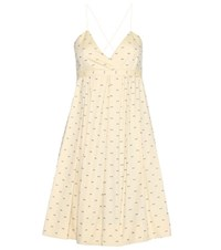 Victoria Beckham Cotton Fil Coupe Dress Yellow