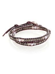Chan Luu 4Mm Cultured Freshwater Pearl Pyrite And Mystic Lab Double Wrap Bracelet Grey Mix