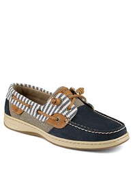 Sperry Bluefish Leather And Striped Canvas Boat Shoes Navy