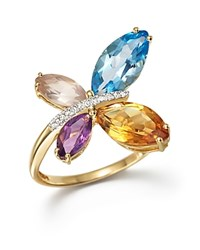 Bloomingdale's Multi Gemstone And Diamond Butterfly Statement Ring In 14K Yellow Gold