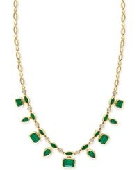 Effy Collection Effy Emerald 7 Ct. T.W. And Diamond 1 3 Ct. T.W. Pendant Necklace In 14K Gold Green