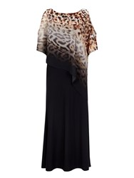 Wallis Ombre Animal Printed Overlay Maxi Dress Black