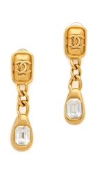Wgaca Vintage Chanel Cc Rhinestone Dangle Earrings Clear