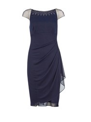 Gina Bacconi Mesh Dress With Beaded Neckline Navy