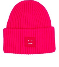 Acne Studios Men's Pansy Emoji Embroidered Wool Beanie Pink