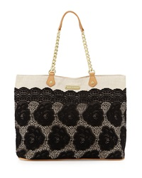 Betsey Johnson Lace Over Tote Bag Black