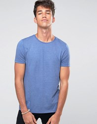 Asos T Shirt With Crew Neck In Blue Marl True Navy Marl