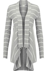 Autumn Cashmere Draped Striped Cotton Cardigan Gray