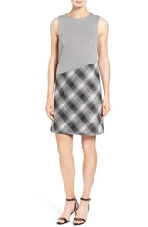 Halogenr Petite Women's Halogen Sleeveless Print Block Jacquard Dress Black Houndstooth Plaid