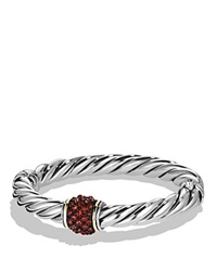 David Yurman Bracelet With Garnet And 18K Gold Red Silver