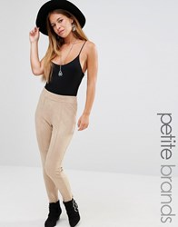 Missguided Petite Faux Suede Leggings Nude Beige