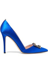 Sarah Jessica Parker Sjp By Windsor Embellished Satin Pumps Bright Blue
