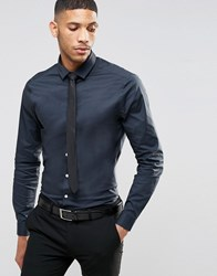 Asos Skinny Shirt In Charcoal With Long Sleeves And Black Tie Set Charcoal Grey