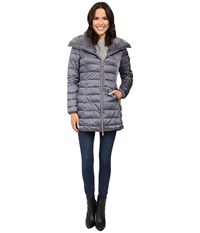 Save The Duck Long Nylon Coat With Faux Fur Steel Grey Women's Coat Gray