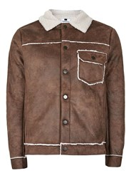 Topman Brown Tan Borg Lined Faux Suede Jacket