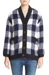 Sea Gingham Print Cardigan Navy