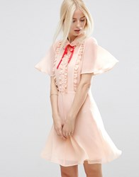 Asos Short Sleeve Ruffle Front Tea Dress With Contrast Tie Cream Pink