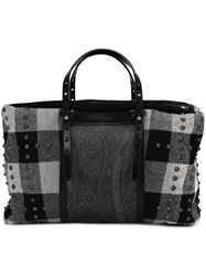 Etro Plaid Tote Bag Black