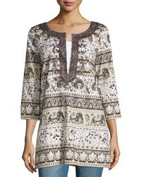 Calypso St. Barth Olifant Printed Caftan Neck Tunic Gold