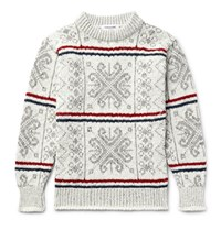 Thom Browne Fair Isle Wool And Mohair Blend Sweater White