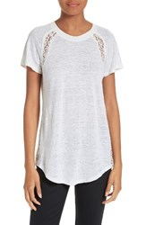 Rebecca Taylor Women's Short Sleeve Linen And Lace Tee Sea Salt