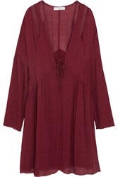 Iro Enya Cutout Gauze Mini Dress Burgundy