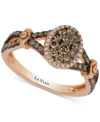Le Vian Chocolatier Framed Cluster Chocolate And White Diamond Framed Ring 5 8 Ct. T.W. In 14K Rose Gold
