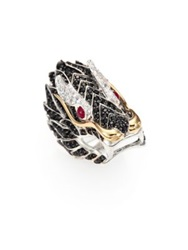 John Hardy Naga Black Sapphire Ruby 18K Yellow Gold And Sterling Silver Dragon Ring Multi