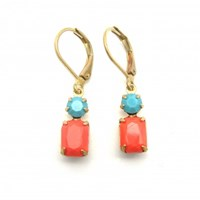 Zt Vintage Turquoise And Coral Earrings