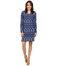 Hatley Knit Zip Back Dress Floral Thistle Women's Dress Blue