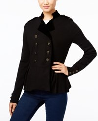 Inc International Concepts Velvet Trim Military Cardigan Only At Macy's Deep Black