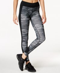 Under Armour Coldgear Print Leggings Black White Metallic Silver