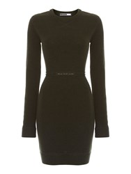 Sportmax Long Sleeved Wool Zip Dress Dark Green