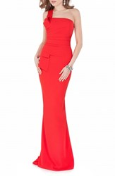 Women's Terani Couture One Shoulder Woven Mermaid Gown