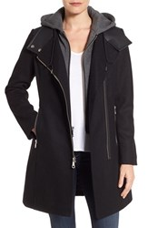 Andrew Marc New York Women's By Hooded Bib Front Boiled Wool Jacket Black