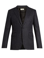 Saint Laurent Striped Single Breasted Wool Blazer Navy Multi