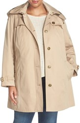 London Fog Plus Size Women's Single Breasted Trench Coat Khaki